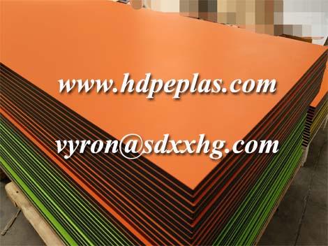 Orange-black-orange colour, 3-layer pe board, plastic orange peel surface sheet