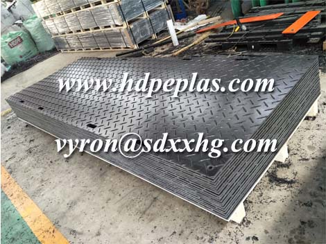 Black HDPE ground protection mats