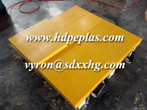 Yellow color UHMWPE crane outrigger pad